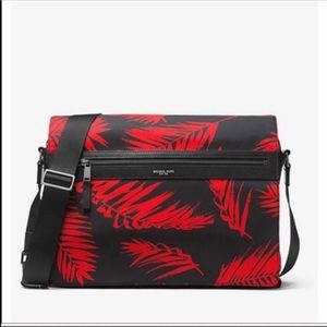 Michael Kors Red & Black Nylon Messenger Bag Purse